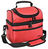 Kato Insulated Lunch Bag, Leakproof Bento Cooler Bag for Women, Dual Compartment Thermal Lunch Box Tote, Red