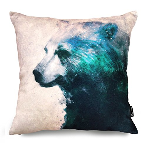 "Phantoscope Animal Series Painting Green Bear Decorative Throw Pillow Case Cushion Cover 18""x 18"""