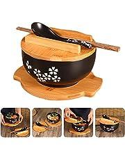 FURNITURE Qapaqlı Qaşıqlı Yapon Vintage Noodle Bowl, Qara Seramik Ramen Bowl Əllə Çəkilmiş Pirinç Kasesi Retro Süfrə Əriştə Bowl 6.5 Düymlük Yeniləmə