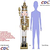 CDL 48'' 4ft tall life-size large/giant gold glitter Christmas wooden nutcracker king ornament on stand holds scepter for indoor outdoor Xmas/event/wedding party decoration K29