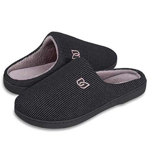Men's Slippers Memory Foam Classic Two-Tone House Slippers (Black/Gray, 44/45) ()
