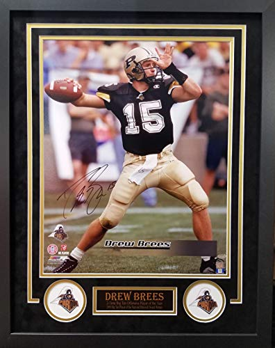 (Drew Brees Purdue Boilmakers Signed Autograph Custom Framed Photo Suede Matting 23x29 Photograph Schwatz Sports Certified)