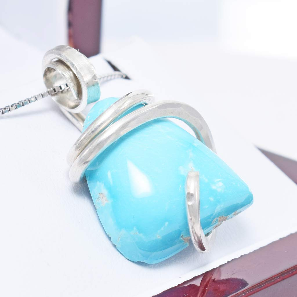 Sleeping Beauty Turquoise Pendant Necklace by Stones Desire