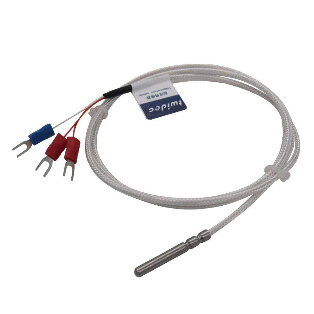 Range:-50℃-200℃ 6.6Feet RTD PT100 Waterproof Temperature Sensor Three-wire System,Stainless Steel Probe 4/×30MM