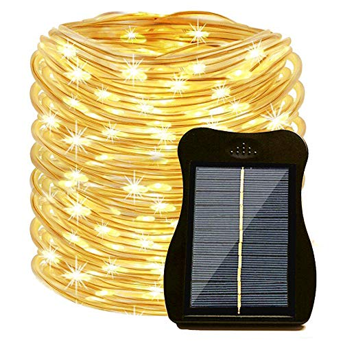 SunKite Solar Rope Led String Lights, 39ft 100 LED Solar Powered Garden Fairy Fence Lights, Waterproof Yard Patio Starry Light Decor with Clip (Warm White) (Solar Led Clip Light)