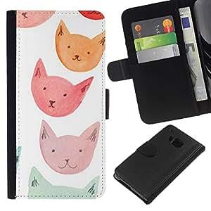 All Phone Most Case / Oferta Especial Cáscara Funda de cuero Monedero Cubierta de proteccion Caso / Wallet Case for HTC One M9 // Orange Red Blue Cat Faces
