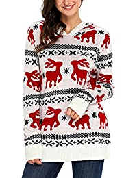 Women's Ugly Christmas Reindeer Snowflakes Oversized Hooded Sweaters