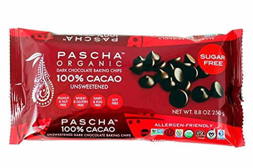 PASCHA Organic Dark Chocolate Baking Chips - 100% Cacao, Unsweetened - 8.75 ounces by Pascha
