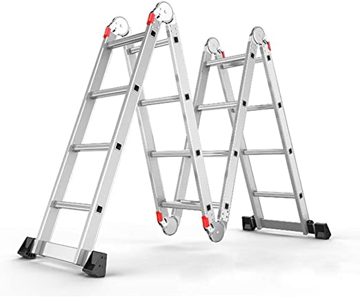 BAOFI Escalera Multiusos 7 en 1 Plegable telescópica Extensible de Aluminio Resistente, bisagras de Bloqueo de Seguridad para Interior y Exterior Herramientas de Bricolaje (1,8 m + 1,8 m): Amazon.es: Hogar