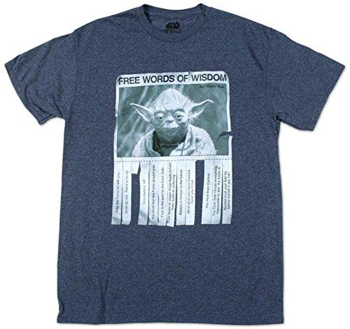 Star Wars Men's Words Of Wisdom T-Shirt, Navy Heather, Large