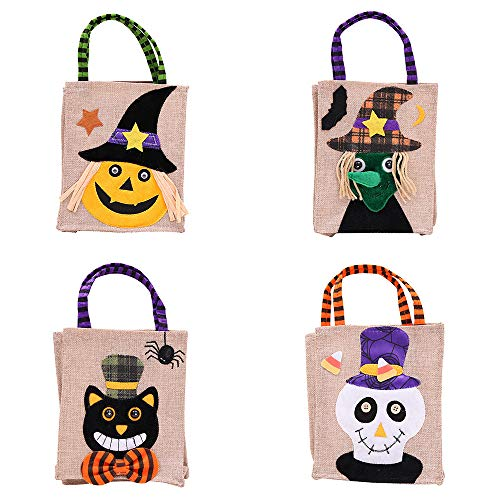 elecfan 4 Pack Halloween Candy Bags Linen, Creative Cartoon Designer Trick or Treat Tote Bag Party Gift Handbag for Kids,Holiday Festival Decor Baskets Children Evening Hallowmas 4 Homemade ()