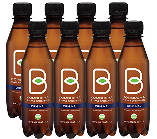 B-tea Raw Organic Kombucha Probiotic Original Black Tea Bottled 8 oz 8-pack