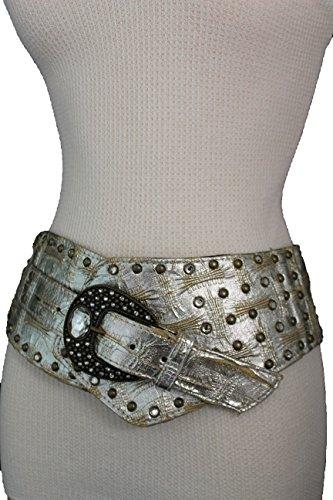 TFJ Women Extra Wide Western Fashion Belt Big Metal Buckle Bead Brown (Fashion Western Buckle)