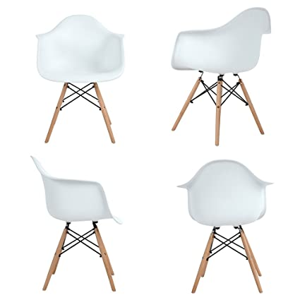 Mid Century Modern Accent Armchair Dining Chairs Molded Plastic Shell Wooden Legs for Bedroom Living Room  sc 1 st  Amazon.com & Amazon.com - Mid Century Modern Accent Armchair Dining Chairs Molded ...