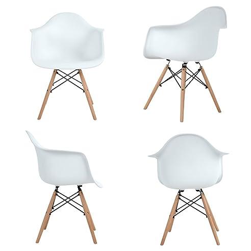 4x Retro Designerstuhl, 4er Esszimmerstühle mit Armlehne ...