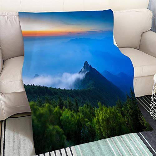 BEICICI Custom Antibacterial and wear Resistant Blanket The Hills were enveloped in Dense Fog Sofa Bed or Bed 3D Printing Cool Quilt