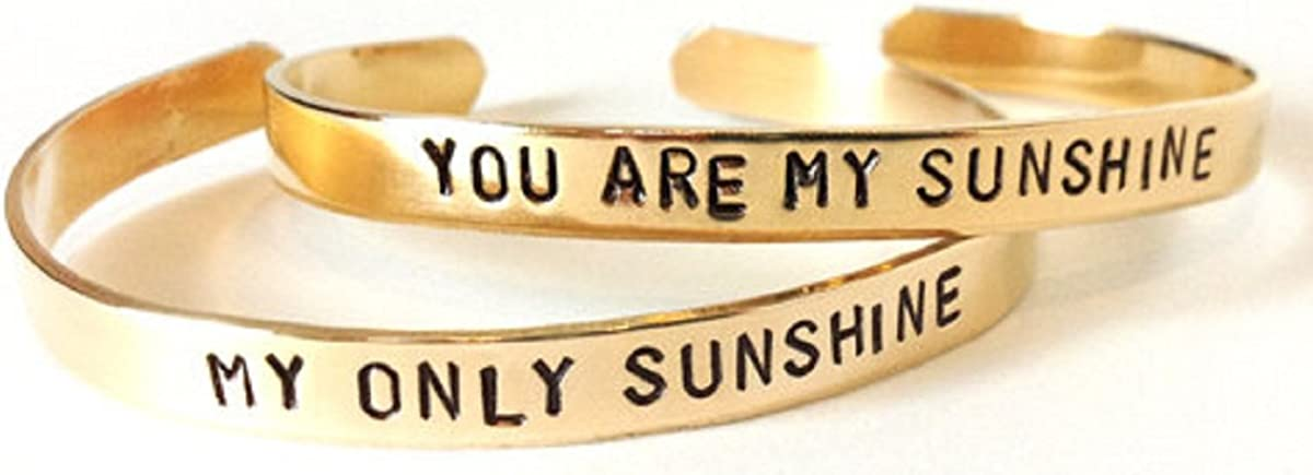 Hand Trades Mother Daughter Jewelry - Best Friend Brass Bracelets - You are My Sunshine My Only Sunshine