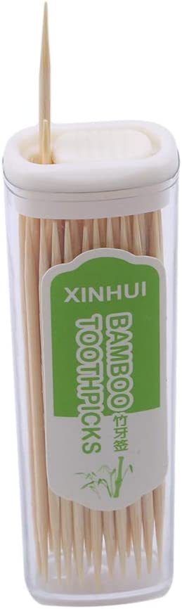 NIKOLay 4Pcs Bamboo Toothpick Double Head Fine Party Dining Dessert BBQ Toothpick Art Craft Teeth Cleaning Tool