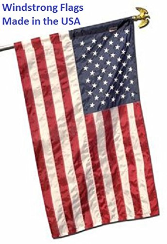 2.5x4 FT 30x48 Inches US American Flag Pole Sleeve Banner Style Nylon Embroidered Stars Sewn Stripes WindStrong® Banner Pole Sleeve