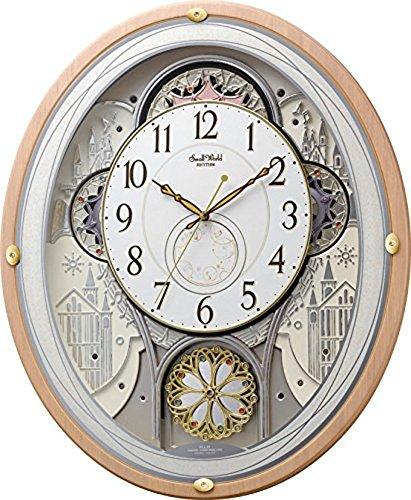 リズム時計工業 SmallWorld 電波からくり壁掛け時計 スモールワールドエアル 4MN525RH13 メロディー 音楽 ピンク半艶仕上 白 アナログ B00VNWXBR8