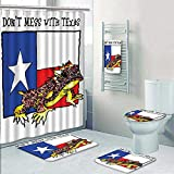 5 Piece Bath Rug Set,Illustration of Cute Warrior Horned Toad Standing for Texas City American Dream Wild Print Bathroom Rugs Shower Curtain/Rings and Both Towels