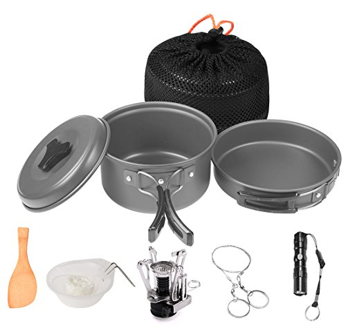 Wolfyok Outdoor Camping pan Hiking Backpacking Cookware Set Bundle with Camping Stove, Flashlight, Piezo Ignition Kit (12-Items)