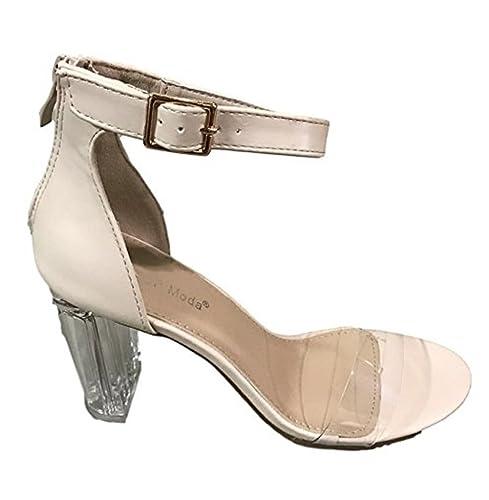 6697bd452e5 Top Moda Women s Alma-55 Lucite Clear Strappy Block Chunky High Heel Open  Peep Toe