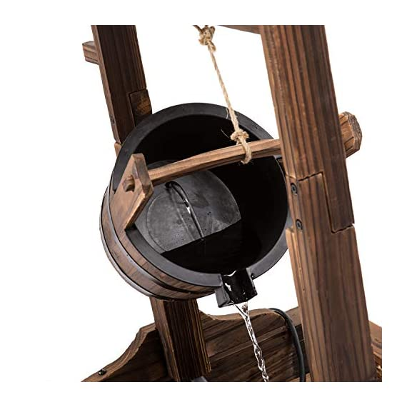 Worldrich 44-Inch Outdoor Garden Rustic Wood Wishing Well Water Fountain with Pump - UL Certified 120V Electric Pump- UL certified 120V electric pump serves as a powerful engine to keep the fountain flowing. High performance pump with 60Hz 3600r/min. Outdoor Deraction- This wishing well water fountain perfectly serves as a outdoor decoration for your backyard, patio, or garden. - patio, outdoor-decor, fountains - 51C2V4q mmL. SS570  -