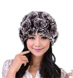 MEEFUR Womens 100% Real Rex Rabbit Fur Beanie Winter Warm Stretchy Girls Soft Knitted Genuine Fur Rose Hat Multi Color(Coffee)