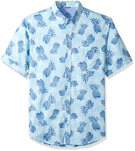 IZOD Men's Big Saltwater Chambray Short Sleeve Shirt, Plaid Gulf Stream, 2X-Large (Button Down Rugby)