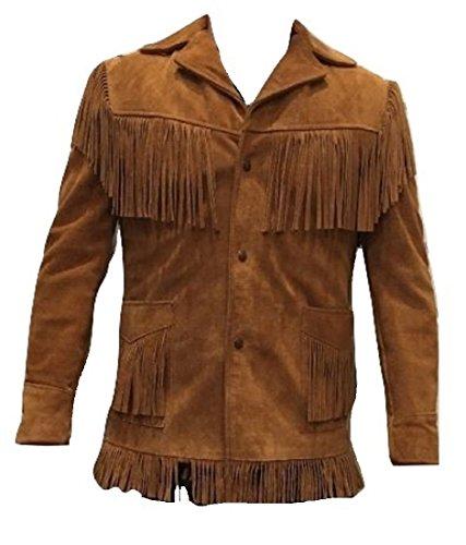 Bestzo Men's Western Cowboy Fringed Suede Leather Jacket Brown S ()