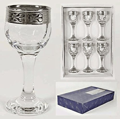 Cordial Liqueur Glassess Set of 6 With Platinum Rim by Success Imports