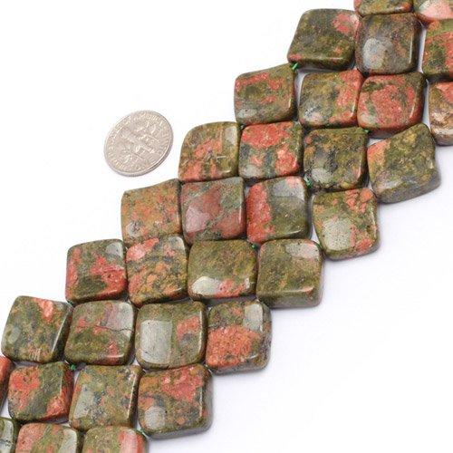 15mm Square Twist Gemstone Unakite Beads Strand 15 Inches Jewelry Making Beads