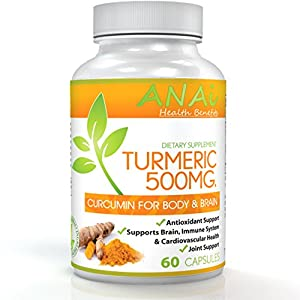 Best Turmeric Curcumin Capsules Pure Dietary Supplement Joint and Muscle Pain All Natural High Potency & Full Absorption 95% Curcuminoids 60 Capsules 500mg Turmeric Supplement 1 Cap Per Day (2 Mo.)