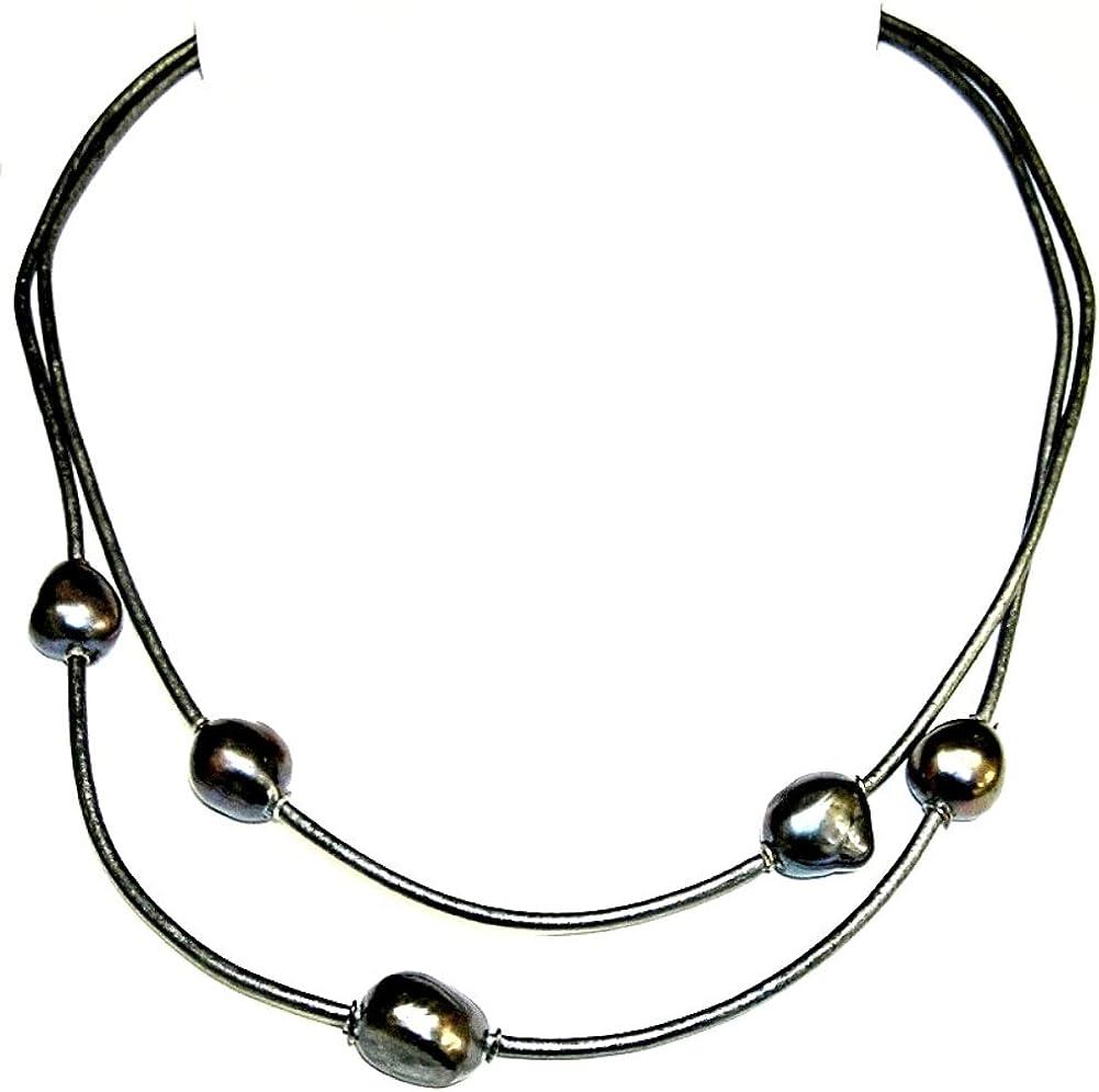 Collar de Perlas Cultivadas barrocas Grises. Cuero Natural Gris y Plata de Ley. Envoltorio de Regalo