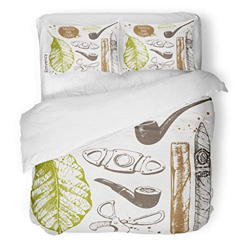 Semtomn Decor Duvet Cover Set Full/Queen Size Smoking Cigars in Sketch Pipes Guillotines Leaves of Tobacco 3 Piece Brushed Microfiber Fabric Print Bedding Set Cover