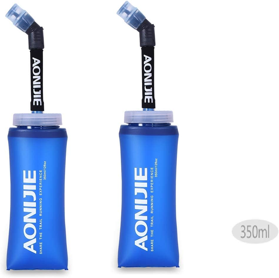 Docooler Botella Blanda comprimible Pajita, sin BPA, para Corredores,Running Soft Flask Botella,Color 350ML 600ML