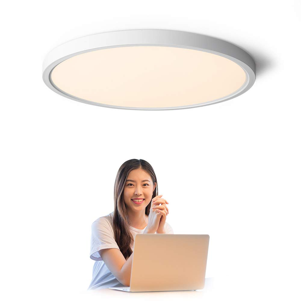 TALOYA Flush Mount 12 Inch Ceiling Light (Milk White Shell), 20W Surface Mount LED Light Fixture for Bedroom Kitchen,3 Color Temperatures in One(3000k/4000k/6500k),0.94 Inch Thickness Round