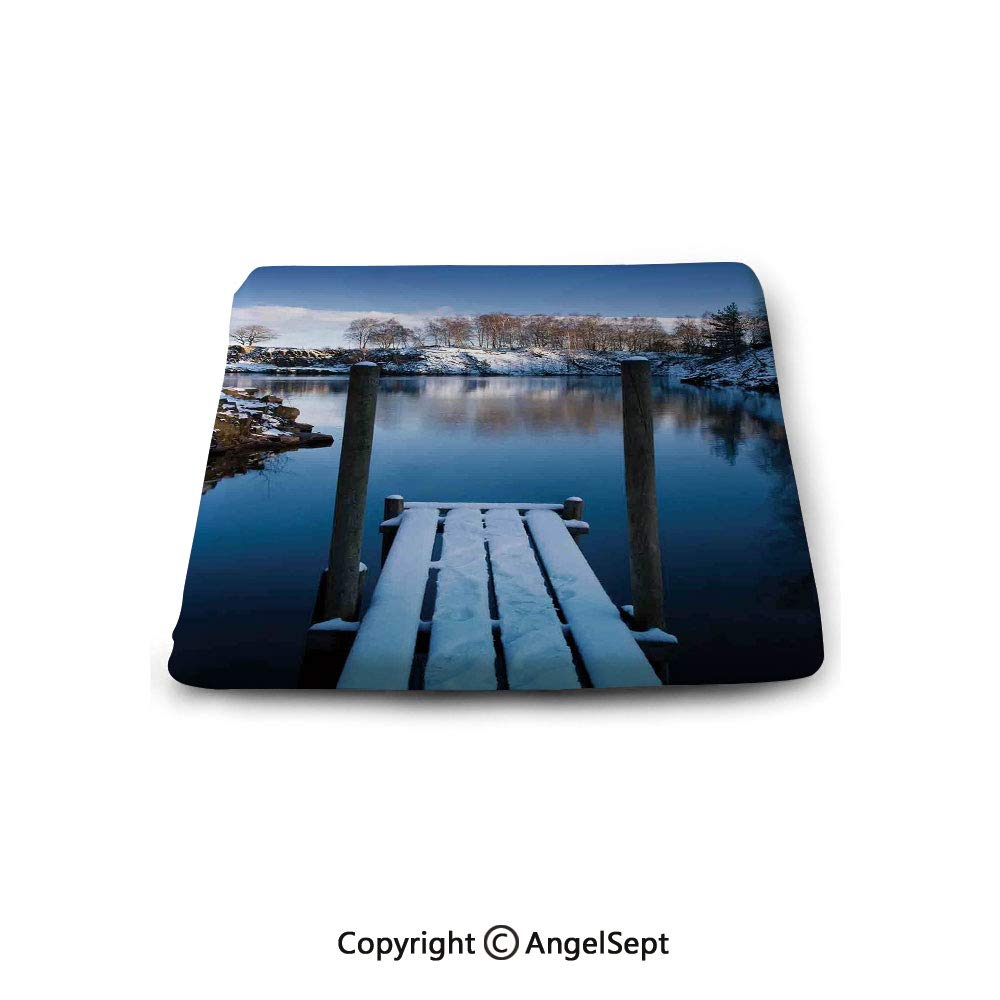 Square Chair Seat Cushion for Kitchen Dining Chairs,Art,Photo of Wooden Deck on The Shore of a Small Lake in Winter Sweden Frozen Northern,White Blue Brown,Memory Butt Pad Non Slip