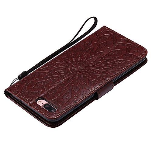 Funda Apple Iphone 7 Plus - Alta Calidad Flip PU Cuero Caso Sol Patrón en Relieve /Stent/Billetera/Con el Sostenedor de Tarjeta/Proteccion Caso Cubrir para Apple Iphone 7 Plus(Rosa) Marrón