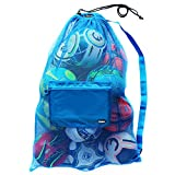 Extra Large Heavy Duty Soccer Ball Mesh Bag for Sports, Beach and Swimming Gears. Adjustable Shoulder Strap Made to Fit Adults and Kids. Secure Side Pocket for your Personal Item. 40x30 IN, Blue