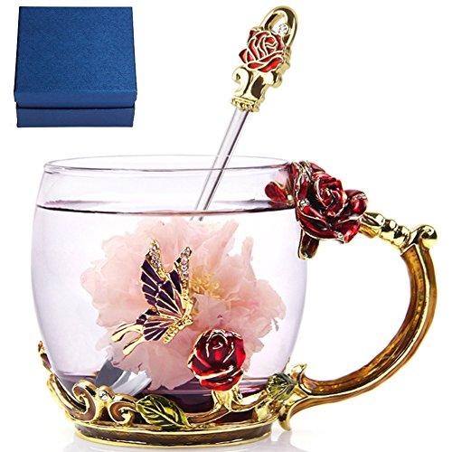 NBHUZEHUA Cute Glass Coffee Mug Tea Cup Birthday Gifts Best Presents for Girlfriend Love Women Mother (Pretty Presents)