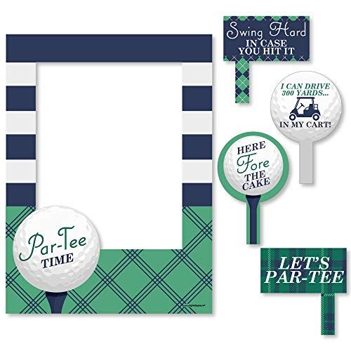 (Big Dot of Happiness Par-Tee Time - Golf - Birthday or Retirement Party Selfie Photo Booth Picture Frame & Props - Printed on Sturdy Material)