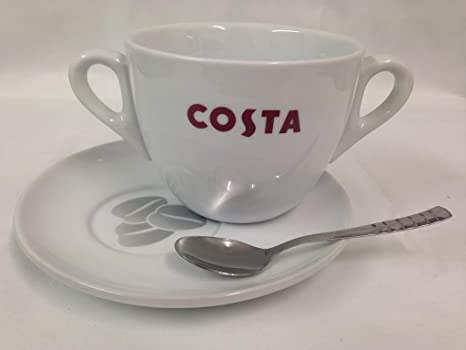 a168f24ca7f Costa Large Cup Double Handle With Saucer And Spoon 568ml 20oz ...