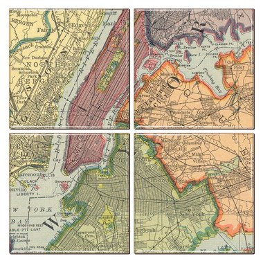 New York City Coaster of Vintage Map (Set of 4)