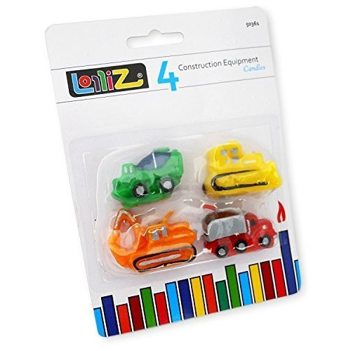 LolliZ® Equipo de Construcción de vela de cumpleaños Tema. Pack de 4. Divertido, colores brillantes