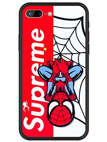 MAYCARI Super Hero Red Street Fashion Design Slim Phone Case for iPhone 7 Plus/8 Plus, Hybrid Hard PC + Soft TPU Bumper Frame [Anti-Scratch] [Anti-Finger] Protective Cover Best Gift for Boys