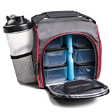 HomEquip Meal Prep Lunch Bag with 6 Portion Control Food Boxes: Best Leak-Proof, Canvas, Insulated Cooler / Thermal Tote Bag Set with Shaker Cup- for Work, School, Gym & Picnics, Men & Women