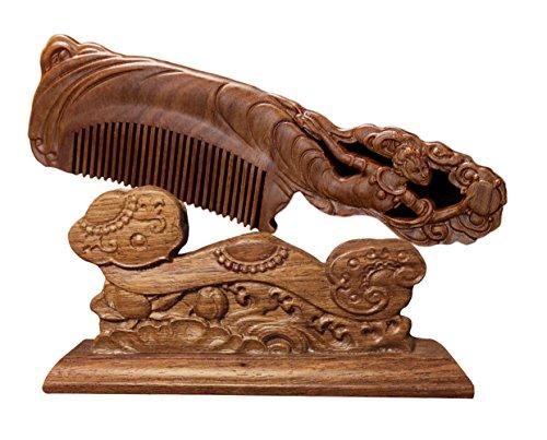 ICEGREY Handmade Sandalwood Wooden Comb Anti-Hair Loss Rake Comb Carved Luna (Luna Brown Wood)
