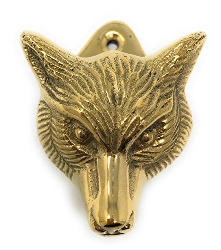 (Madison Bay Company Fox Head Mini Door Knocker Textured Brass, 2.5 Inches Tall)